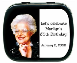 80th Birthday Party Favors Photo Mint Tins