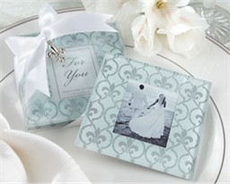Southern Wedding Favors Fleur de Lis Photo Coasters